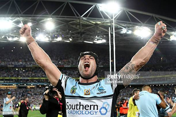 Michael Ennis of the Sharks celebrates winning the 2016 NRL Grand Final match between the Cronulla Sharks and the Melbourne Storm at ANZ Stadium on...