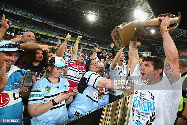 Michael Ennis of the Sharks celebrates with the crowd after victory in the 2016 NRL Grand Final match between the Cronulla Sharks and the Melbourne...