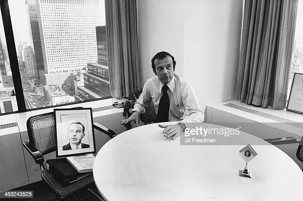 Michael Ephron working at his desk in the 'Scali McCabe Sloves' advertising agency Madison Avenue New York City 1976
