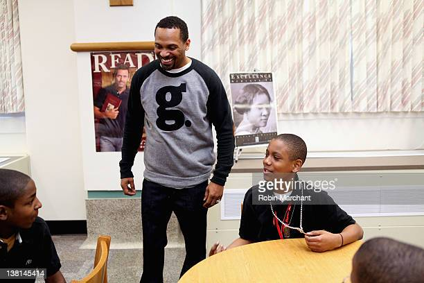 Michael Epps attends the Michael and Mechelle Epps Foundation Media Day at the Crispus Attucks Medical Magnet High School on February 3 2012 in...