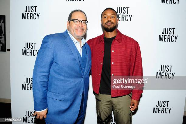 Michael Eric Dyson and Michael B Jordan attend Warner Bros Hosts A Special Screening Of Just Mercy at DGA Theater on September 8 2019 in New York City