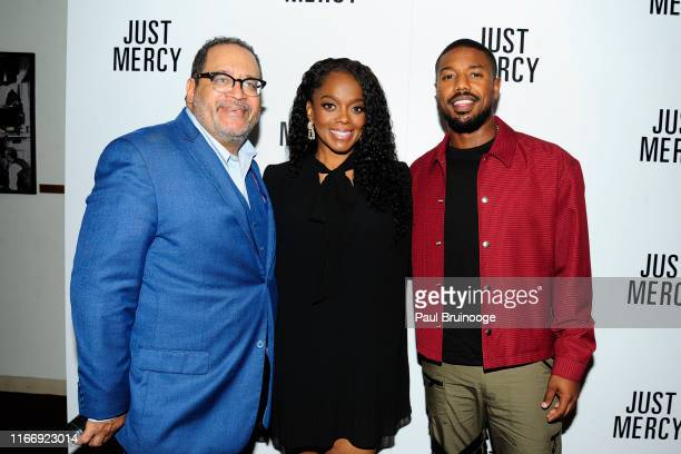 Michael Eric Dyson Karan Kendrick and Michael B Jordan attend Warner Bros Hosts A Special Screening Of Just Mercy at DGA Theater on September 8 2019...