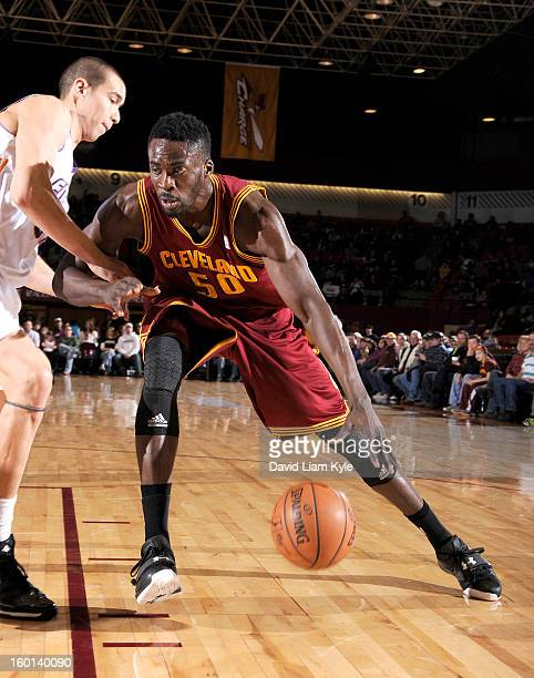 Michael Eric of the Canton Charge drives to the basket against Ben Strong of the Iowa Energy at the Canton Memorial Civic Center on January 26 2013...