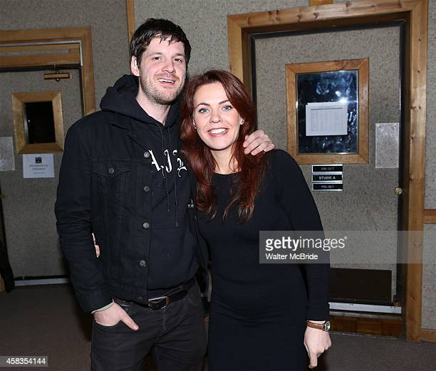 Michael Esper and Rachel Tucker in the studio recording the Original Broadway Cast Recording of 'The Last Ship' at Avatar Studios on November 3 2014...