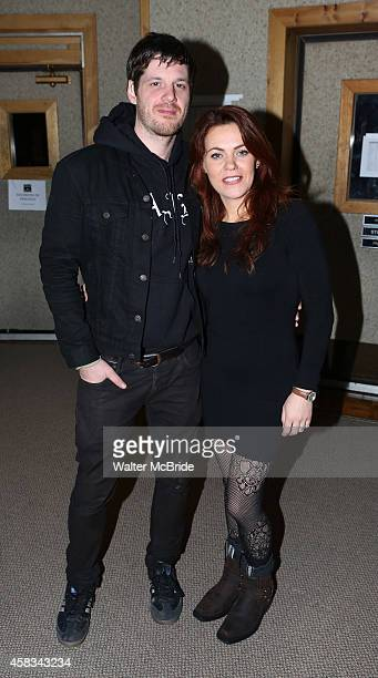 Michael Esper and Rachel Tucker the studio recording the Original Broadway Cast Recording of 'The Last Ship' at Avatar Studios on November 3 2014 in...