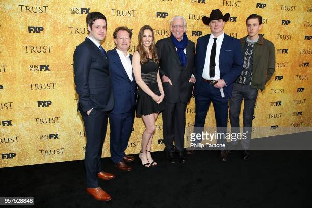 Michael Esper Simon Beaufoy Hilary Swank Donald Sutherland Brendan Fraser and Harris Dickinson attend the For Your Consideration Event for FX's Trust...