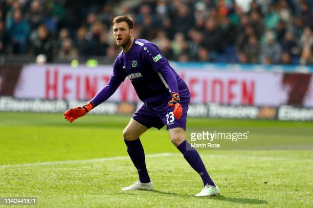 Michael Esser, goalkeeper of Hannover reacts during the Bundesliga match between Hannover 96 and Borussia Moenchengladbach at HDI-Arena on April 13,...