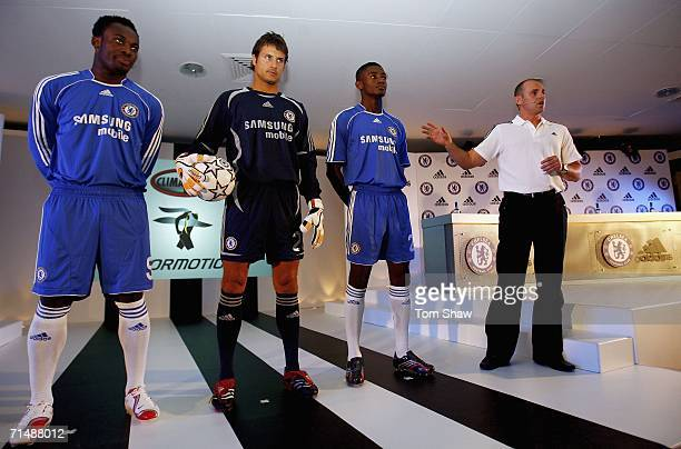 Michael Essien Carlo Cudicini and Salomon Kalou pose as Football production manager Mark Pepperell talks about the new Chelsea kit at the Chelsea...
