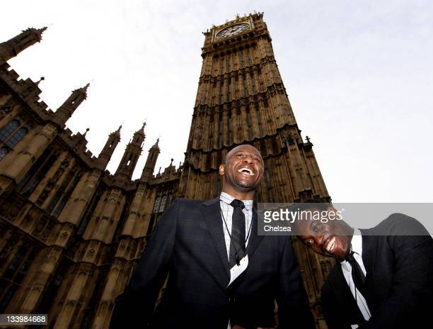 Michael Essien of Chelsea and Patrick Vieira during a visit to the Houses of Parliament for the Millennium Goals Penalty shoot out on November 23...