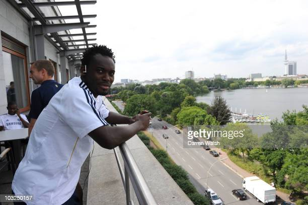 Michael Essien of Chelsea before a pre match walk on August 4, 2010 in Hamburg, Germany.