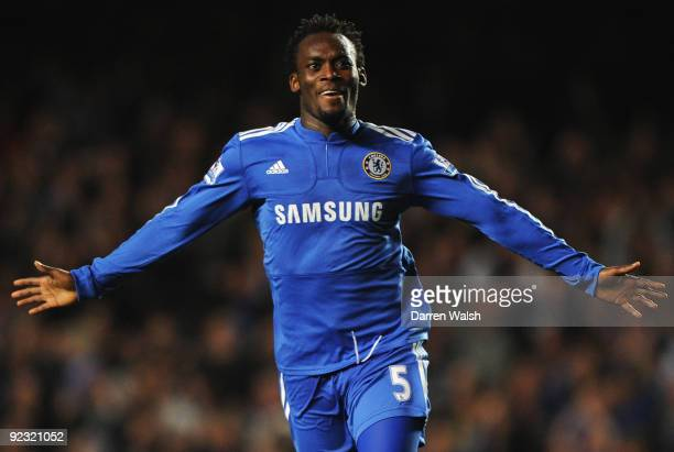 Michael Essien of Chelsea celebrates as he scores their third goal during the Barclays Premier League match between Chelsea and Blackburn Rovers at...