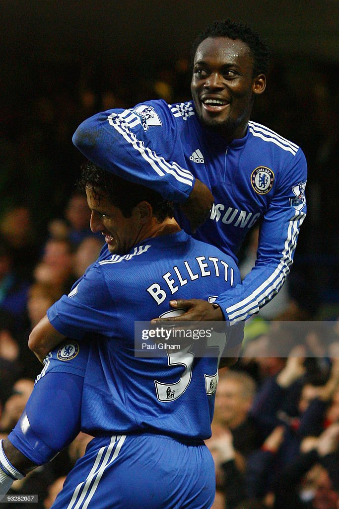 Michael Essien of Chelsea celebrates his second goal with Juliano Belletti during the Barclays Premiership match between Chelsea and Wolverhampton Wanderers at Stamford Bridge on November 21, 2009 in London, England.