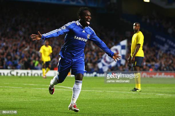 Michael Essien of Chelsea celebrates scoring the first goal of the game during the UEFA Champions League Semi Final Second Leg match between Chelsea...