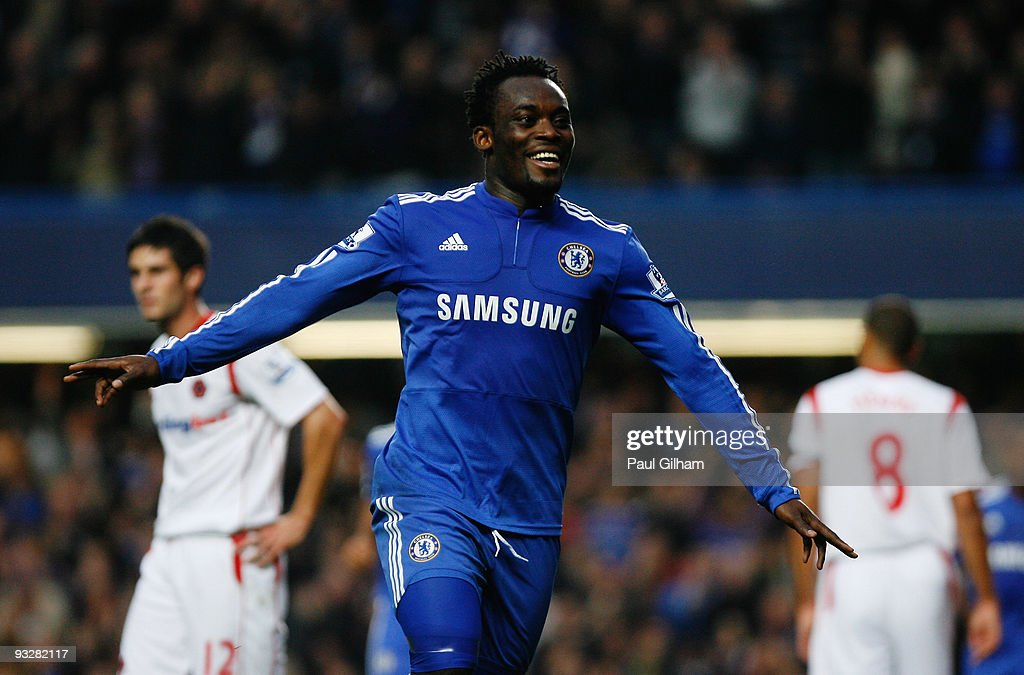 Michael Essien of Chelsea celebrates scoring their third goal during the Barclays Premiership match between Chelsea and Wolverhampton Wanderers at Stamford Bridge on November 21, 2009 in London, England.