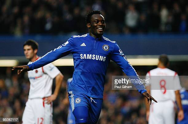 Michael Essien of Chelsea celebrates scoring their third goal during the Barclays Premiership match between Chelsea and Wolverhampton Wanderers at...