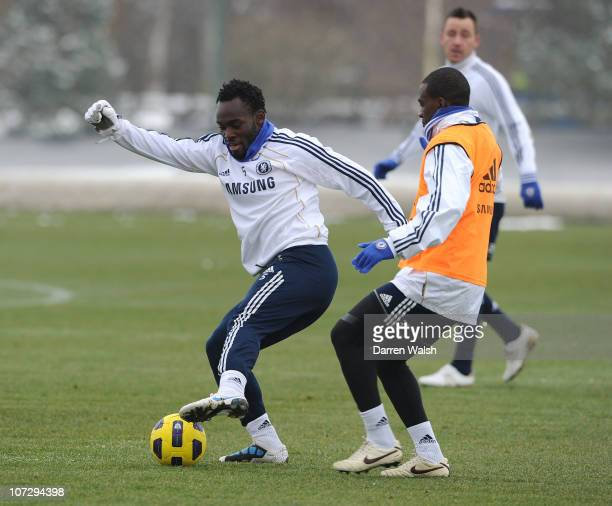 Michael Essien of Chelsea during a training session at the Cobham training ground on December 3, 2010 in Cobham, England.