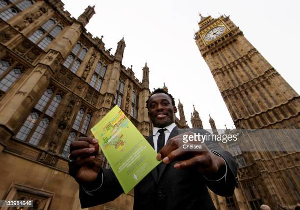 Michael Essien of Chelsea during a visit to the Houses of Parliament for the Millennium Goals Penalty shoot out on November 23, 2011 in London,...