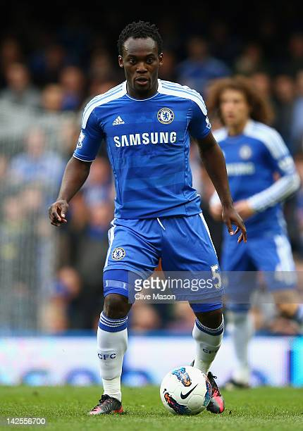 Michael Essien of Chelsea in action during the Barclays Premier League match between Chelsea and Wigan Athletic at Stamford Bridge on April 7 2012 in...