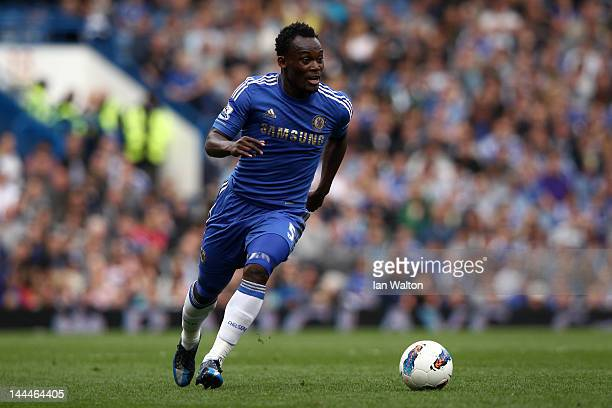 Michael Essien of Chelsea in action during the Barclays Premier League match between Chelsea and Blackburn Rovers at Stamford Bridge on May 13, 2012...