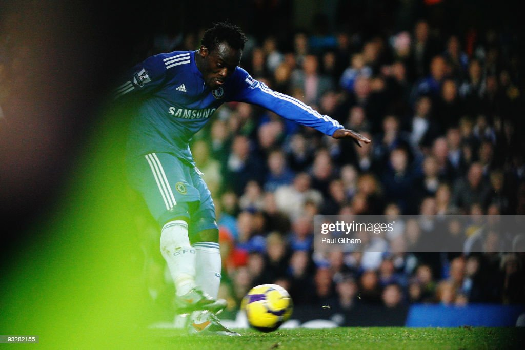 Michael Essien of Chelsea scores their third goal during the Barclays Premiership match between Chelsea and Wolverhampton Wanderers at Stamford Bridge on November 21, 2009 in London, England.
