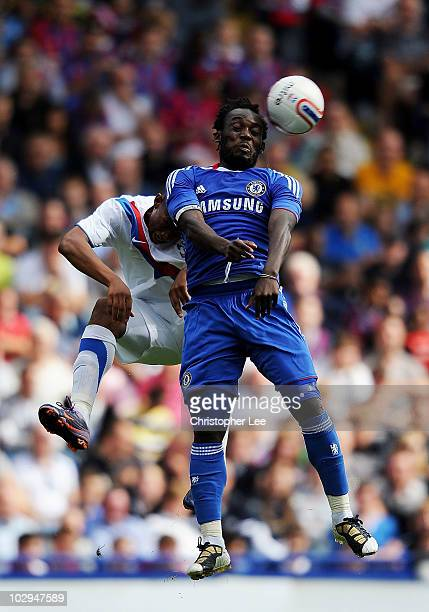 Michael Essien of Chelsea wins the ball in the air during the Pre Season Friendly match between Crystal Palace and Chelsea at Selhurst Park on July...