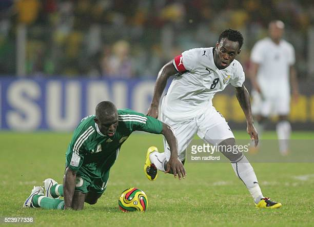 Michael Essien of Ghana and George Olofinjana of Nigeria during the 2008 African Cup of Nations QuarterFinal match between Ghana and Nigeria at the...