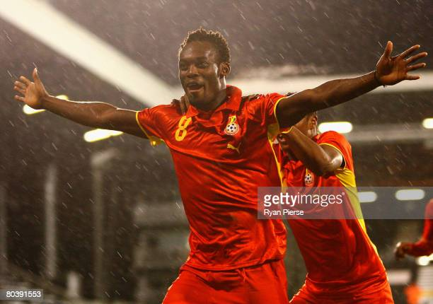 Michael Essien of Ghana celebrates after he scored his teams first goal during the International Friendly match between Ghana and Mexico at Craven...