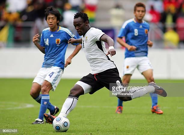 Michael Essien of Ghana in action during the international friendly match between Ghana and Japan at Stadion Galgenwaard on September 9 2009 in...