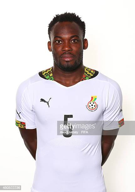 Michael Essien of Ghana poses during the official FIFA World Cup 2014 portrait session on June 11, 2014 in Maceio, Brazil.