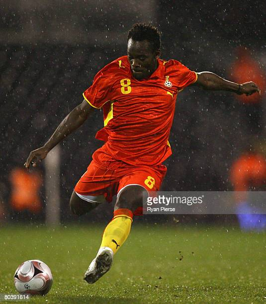 Michael Essien of Ghana scores his team's first goal during the international friendly match between Ghana and Mexico at Craven Cottage on March 26...