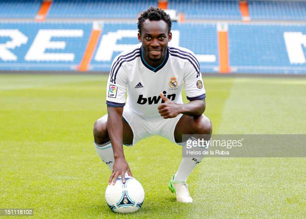 Michael Essien poses as he signs a season-long loan with Real Madrid at Santiago Bernabeu stadium on September 1, 2012 in Madrid, Spain.