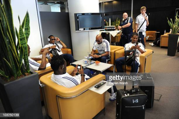Michael Essien, Salomon Kalou, Didier Drogba, Nicolas Anelka, Florent Malouda of Chelsea as the team travel to Hamburg on August 3, 2010 in Frankfurt...