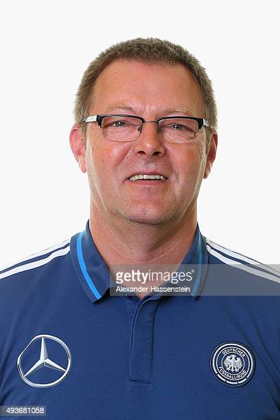 Michael Ester team coach driver of the Germany national U16 team poses during the team presentation on October 21 2015 in Grodig Austria