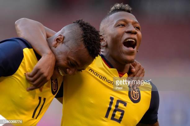 Michael Estrada of Ecuador celebrates with teammate Pervis Estupiñan after scoring the second goal of their team during a match between Ecuador and...