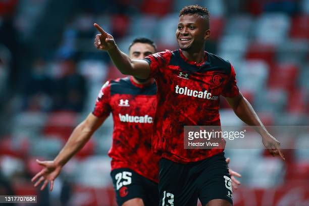 Michael Estrada of Toluca celebrates after scoring the second goal of his team during the quarterfinals first leg match between Toluca and Cruz Azul...