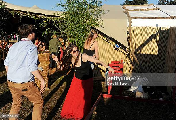 Michael Evans and Anna Abramovich attend the launch of Mahiki Coconut during Day One of V Festival 2011 on August 20 2011 in Chelmsford England