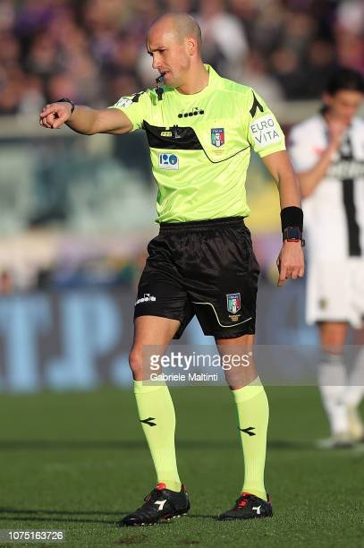 Michael Fabbri referee during the Serie A match between ACF Fiorentina and Parma FC at Stadio Artemio Franchi on December 26 2018 in Florence Italy