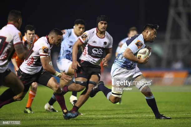 Michael Faleaga of Northland runs the ball during the round five Mitre 10 Cup match between Northland and North Harbour at Toll Stadium on September...