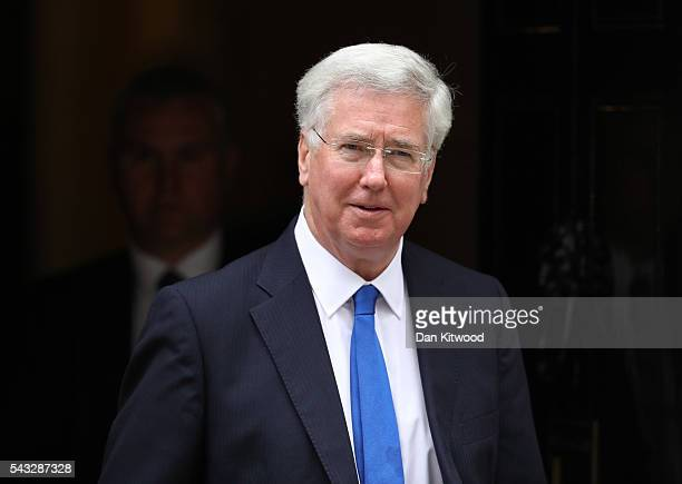 Michael Fallon Secretary of State for Defence leaves Downing Street following a cabinet meeting on June 27 2016 in London England British Prime...