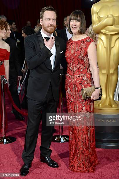 Michael Fassbender and Adele Fassbender attend the Oscars held at Hollywood Highland Center on March 2 2014 in Hollywood California