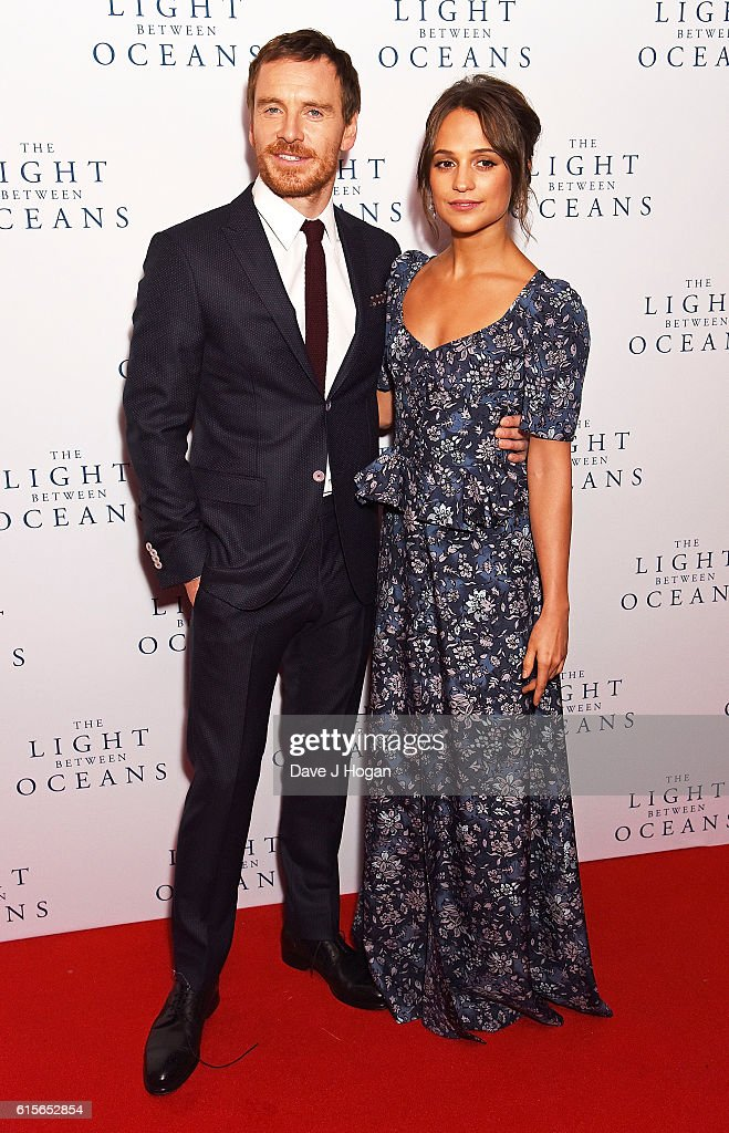 Michael Fassbender (L) and Alicia Vikander attend the UK Premiere of 'The Light Between Oceans' at The Curzon Mayfair on October 19, 2016 in London, England.