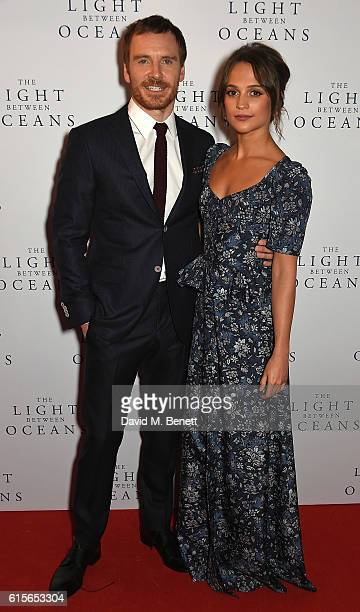 Michael Fassbender and Alicia Vikander attend the UK Premiere of 'The Light Between Oceans' at The Curzon Mayfair on October 19 2016 in London England