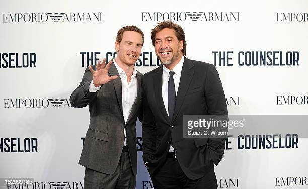 """Michael Fassbender and Javier Bardem attend a special screening of """"The Counselor"""" at Odeon West End on October 3, 2013 in London, England."""