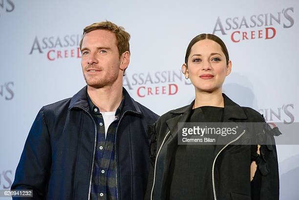 Michael Fassbender and Marion Cotillard attend the 'Assassin's Creed' Berlin Photocall at Cafe Moskau on December 1 2016 in Berlin Germany
