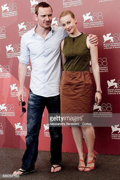 Michael Fassbender and Sara Gadon attend the photocall of movie A Dangerous Method presented in competition at the 68th International Venice Film...