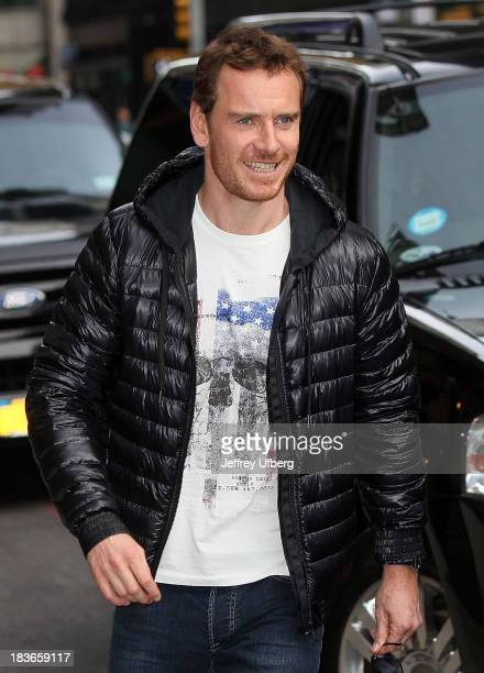 """Michael Fassbender arrives to """"Late Show with David Letterman"""" at Ed Sullivan Theater on October 8, 2013 in New York City."""