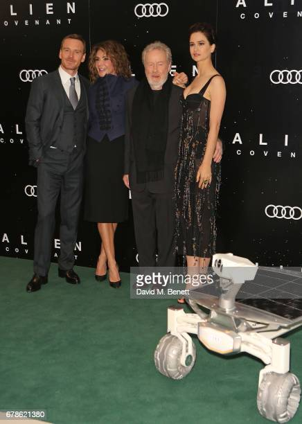 Michael Fassbender, Giannina Facio, Ridley Scott and Katherine Waterston arrive in an Audi at the Alien Covenant Premiere at Leicester Square on May...
