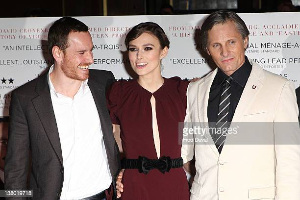 Michael Fassbender Keira Knightley and Viggo Mortensen attend the screening of 'A Dangerous Method' at The Mayfair Hotel on January 31 2012 in London...