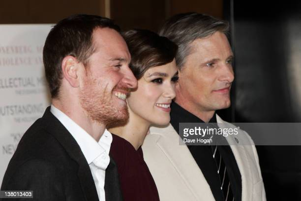 Michael Fassbender Keira Knightley and Viggo Mortensen attend the UK gala premiere of 'A Dangerous Method' at The Mayfair Hotel on January 31 2012 in...