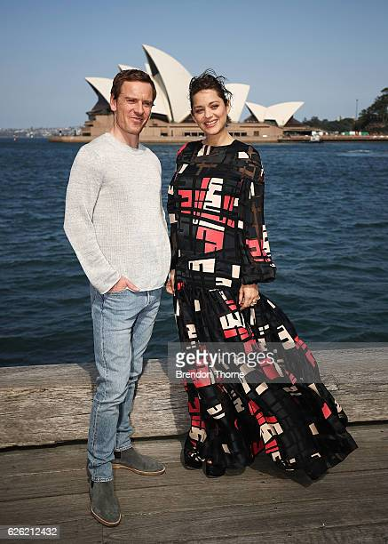 Michael Fassbender Marion Cotillard pose during a photo call for Assassin's Creed on November 28 2016 in Sydney Australia